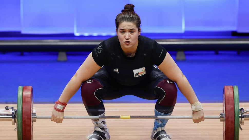 Belgian athlete Anna Vanbellinghen competes in the Women's +87 kg final on the last day of the Weightlifting European Championships 2021 in Moscow, Russia on April 11, 2021.