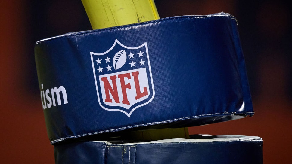 CHICAGO, IL - JANUARY 03: A detailed view of the NFL crest logo is seen on a goal post pad in action during a game between the Chicago Bears and the Green Bay Packers on January 03, 2021 at Soldier Field in Chicago, IL. (Photo by Robin Alam/Icon Sportswire via Getty Images)