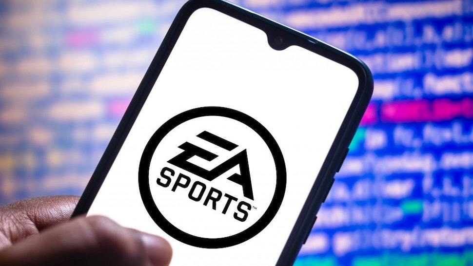 BRAZIL - 2021/05/11: In this photo illustration the EA Sports logo seen displayed on a smartphone screen.