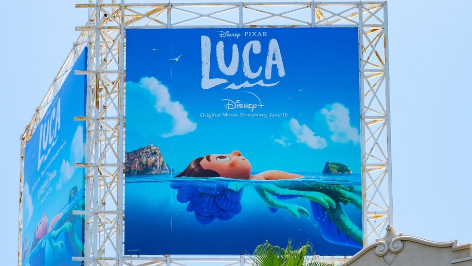 HOLLYWOOD, CA - JUNE 03: General view of a billboard above the El Capitan Entertainment Centre promoting the new Pixar film 'Luca', streaming on Disney+ on June 18th on June 03, 2021 in Hollywood, California. (Photo by AaronP/Bauer-Griffin/GC Images)