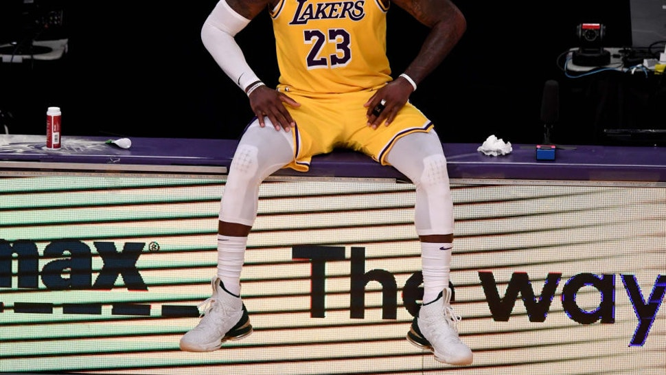 Los Angeles, CA - June 03: LeBron James #23 of the Los Angeles Lakers waits to enter the game against the Phoenix Suns in the second half of game six of the Western Conference First Round NBA Playoff basketball game at the Staples Center in Los Angeles on Thursday, June 3, 2021. (Photo by Keith Birmingham/MediaNews Group/Pasadena Star-News via Getty Images)
