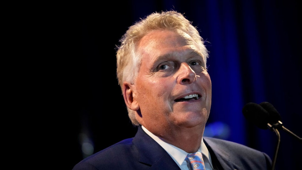 Gubernatorial candidate Terry McAuliffe greets supporters at an election-night event after winning the Democratic primary on June 8, 2021 in McLean, Virginia.