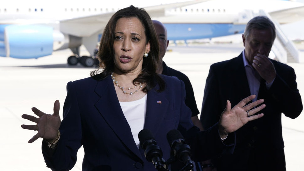 U.S. Vice President Kamala Harris speaks during a news conference at the El Paso International Airport in El Paso, Texas, U.S., on Friday, June 25, 2021. The vice president's visit to the southern border comes after months of denunciations from Republicans, as well as frustration from some Democrats, for not having gone to the border after being chosen to address the root causes of migration from Central America to the U.S. Photographer: Yuri Gripas/Abaca/Bloomberg via Getty Images