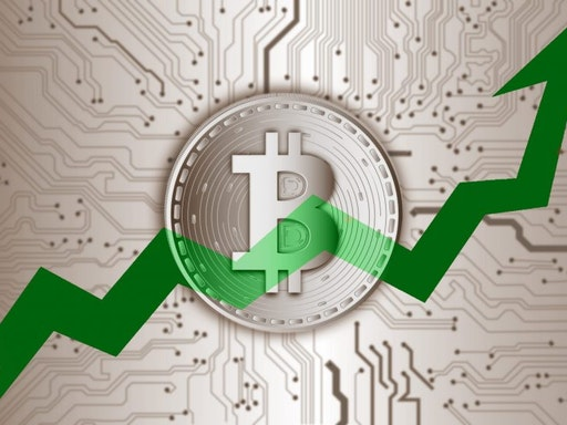 Illustration of abstract futuristic technology of bitcoin digital cryptocurrency and market stock graph up