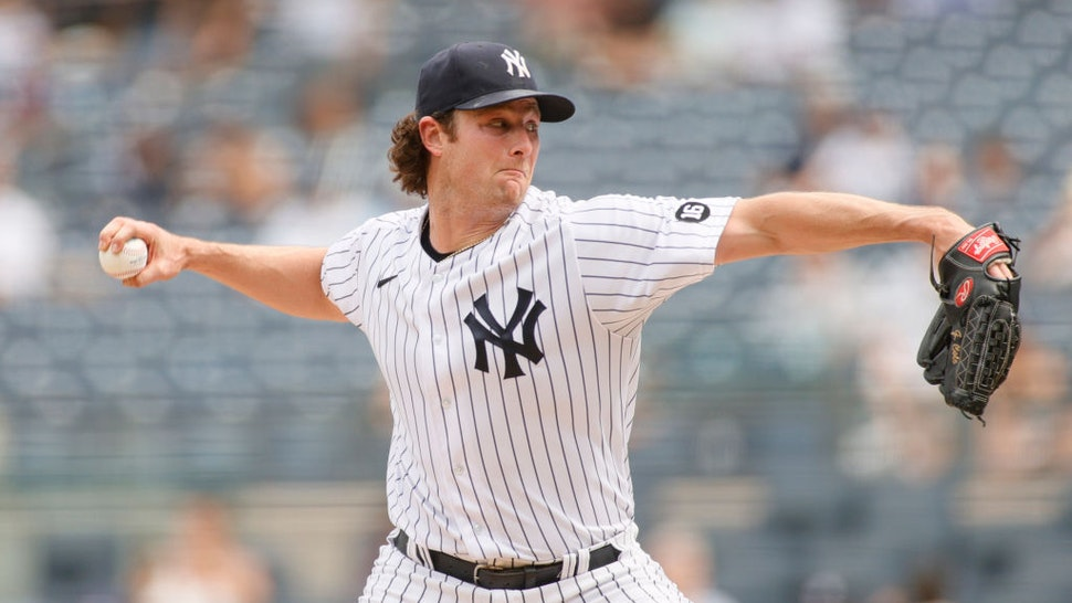 NEW YORK, NEW YORK - MAY 22: Gerrit Cole #45 of the New York Yankees pitches during the seventh inning against the Chicago White Sox at Yankee Stadium on May 22, 2021 in the Bronx borough of New York City. (Photo by Sarah Stier/Getty Images)