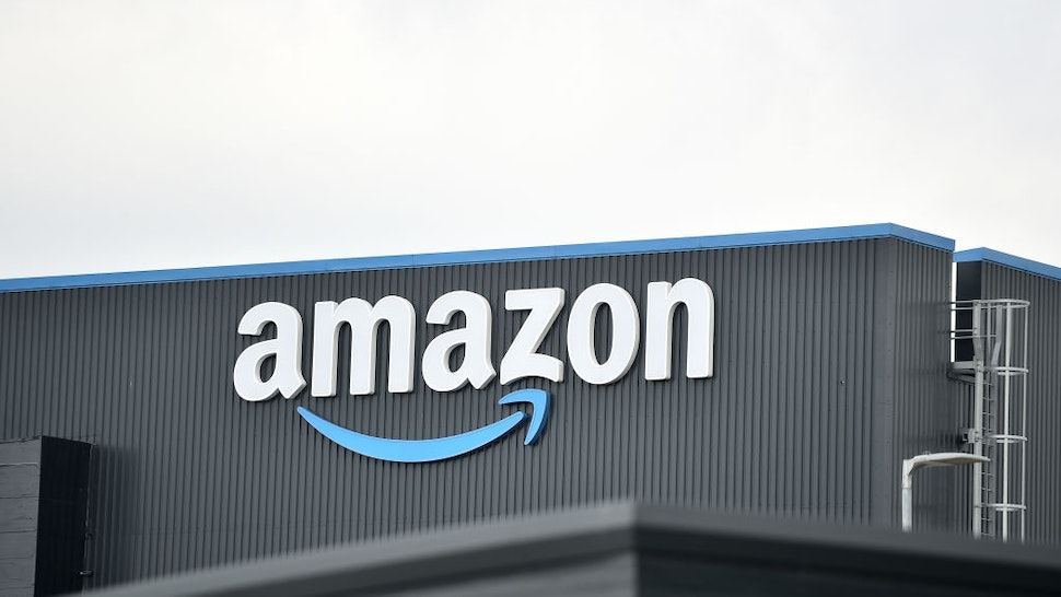 A general view outside an Amazon UK Services Ltd Warehouse at Leeds Distribution Park on May 27, 2021 in Leeds, England.