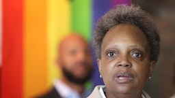 Chicago Mayor Lori Lightfoot speaks to guests at an event held to celebrate Pride Month at the Center on Halstead, a lesbian, gay, bisexual, and transgender community center, on June 07, 2021 in Chicago, Illinois.