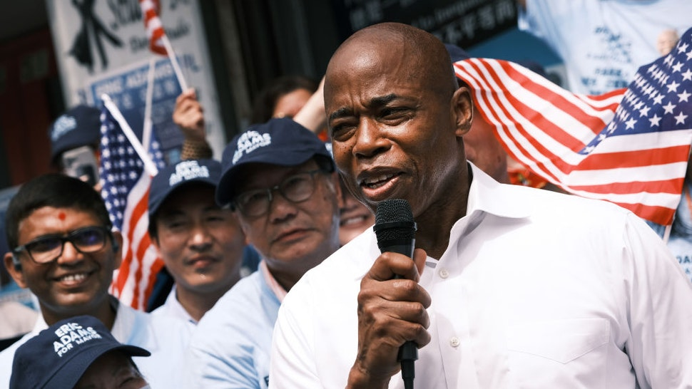 Brooklyn Borough President Eric Adams, who's running as a Democratic mayoral candidate, appears in Flushing, Queens to open a new campaign office on June 8, 2021 in the Queens borough of New York City.