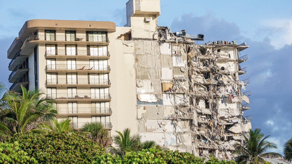Damage caused by the partial collapse of the Champlain Towers condominium building, Surfside, Miami Beach, Florida. (Photo by: Jeff Greenberg/Universal Images Group via Getty Images)