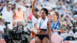 EUGENE, OREGON - JUNE 26: Gwendolyn Berry celebrates finishing third in the Women's Hammer Throw final on day nine of the 2020 U.S. Olympic Track & Field Team Trials at Hayward Field on June 26, 2021 in Eugene, Oregon. (Photo by Steph Chambers/Getty Images)