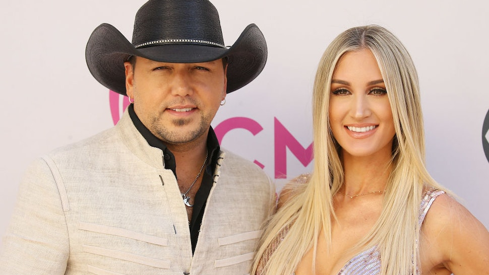 Jason Aldean and Brittany Kerr arrive at the 52nd Academy of Country Music Awards held at T-Mobile Arena on April 2, 2017 in Las Vegas, Nevada.