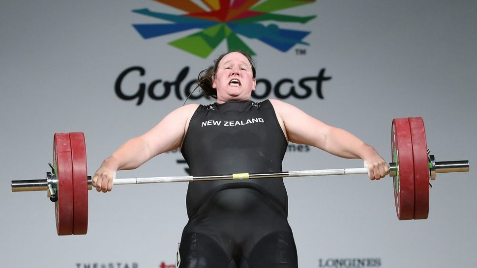 GOLD COAST, AUSTRALIA - APRIL 09: Laurel Hubbard of New Zealand competes in the Women's +90kg Final during the Weightlifting on day five of the Gold Coast 2018 Commonwealth Games at Carrara Sports and Leisure Centre on April 9, 2018 on the Gold Coast, Australia.
