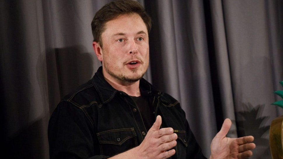 Elon Musk, co-founder and chief executive officer of Tesla Inc., speaks during a Boring Co. event in Los Angeles, California, U.S., on Thursday, May 17, 2018. Closely held SpaceX is going to build its next rocket, known as BFR, at the Port of Los Angeles, an area Musk envisions people getting to using a Boring loop -- if the city approves the idea.
