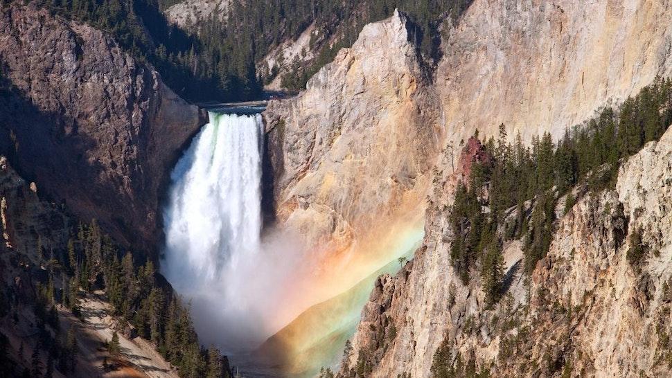 Majestic mountain waterfall, Yellowstone National Park, Wyoming, USA