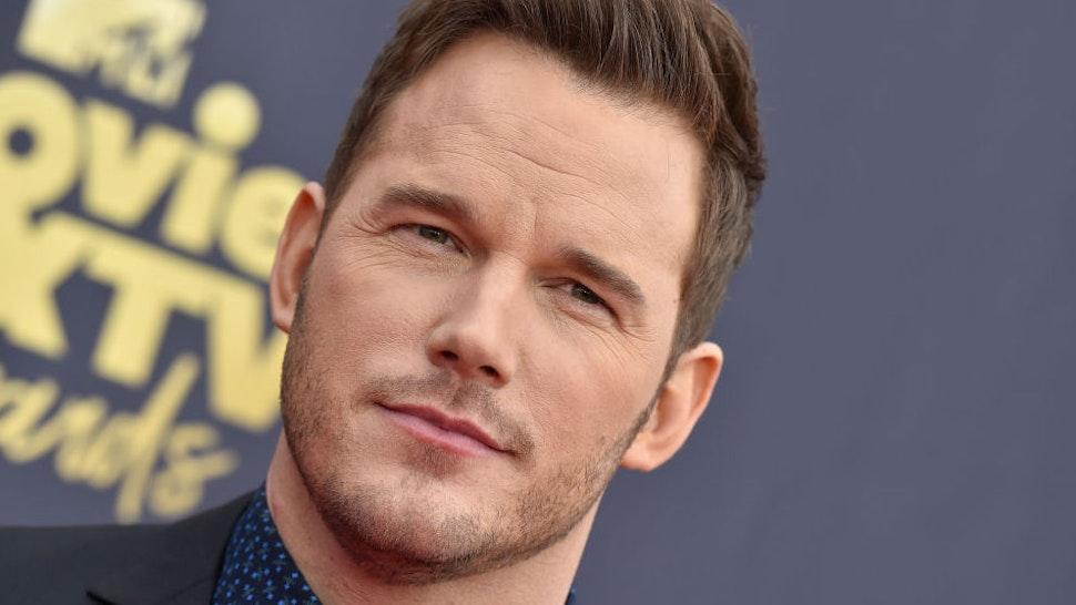 Actor Chris Pratt attends the 2018 MTV Movie And TV Awards at Barker Hangar on June 16, 2018 in Santa Monica, California.