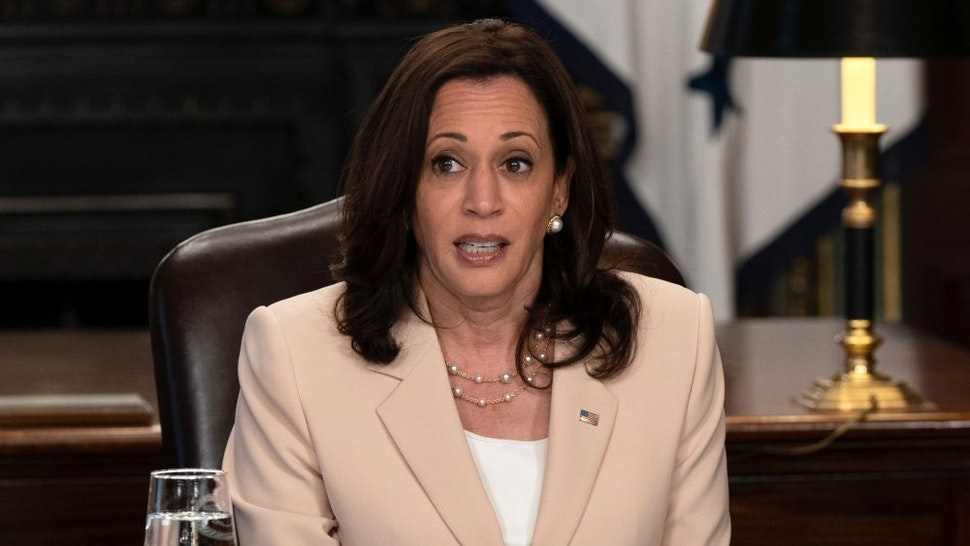 U.S. Vice President Kamala Harris speaks during a meeting in the Vice President's Ceremonial Office in Washington, D.C., U.S., on Tuesday, June 15, 2021. Harris met with immigrant women who work in the care economy on the ninth anniversary of the creation of the Deferred Action for Childhood Arrivals (DACA) program.