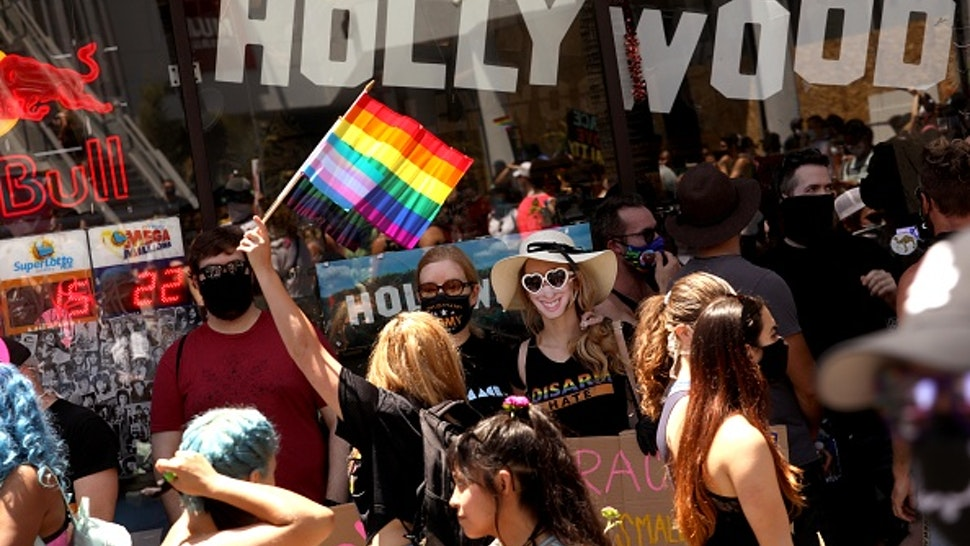 HOLLYWOOD, CA - JUNE 14, 2020 - - Thousands participate in the All Black Lives Matter solidarity march to mark LGBTQ Pride Month along Hollywood Blvd. in Hollywood on June 14, 2020. The march also honored Tony McDade, a transgender man killed by Tallahassee Police Department officers on May 27. The march is in solidarity with the Black Lives Matter movement and highlight the contributions of people of color who were instrumental in organizing the LGBT movement, such as Marsha P. Johnson and Sylvia Rivera. The procession started on Hollywood Boulevard at Highland Avenue in Hollywood.