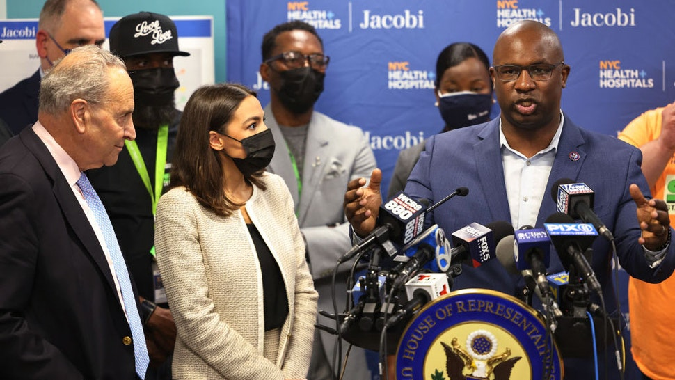 NEW YORK, NEW YORK - JUNE 03: Rep. Jamaal Bowman (D-NY) answers a question during a press conference at Jacobi Hospital in the Morris Park neighborhood on June 03, 2021 in the Bronx borough of New York City. Senate Majority Leader Chuck Schumer (D-NY), joined by Rep. Alexandria Ocasio-Cortez (D-NY) and Rep. Jamaal Bowman (D-NY), held a press conference urging Congress to provide $400,000 to Jacobi Hospital's Stand Up to Violence (SUV) Program, a youth violence reduction program, on the heels of a Memorial Day weekend that saw a total of nine shootings across NYC. One of the victims was a 15-year old Bronx resident. The program is modeled after Chicago's Cure Violence program that responds to shootings to help prevent retaliation and to assists family members of those who have been injured or killed. The money would allow Stand Up to Violence (SUV) Program to add an emergency room social worker, case worker, part time psychiatrist and a creative arts or music therapist.