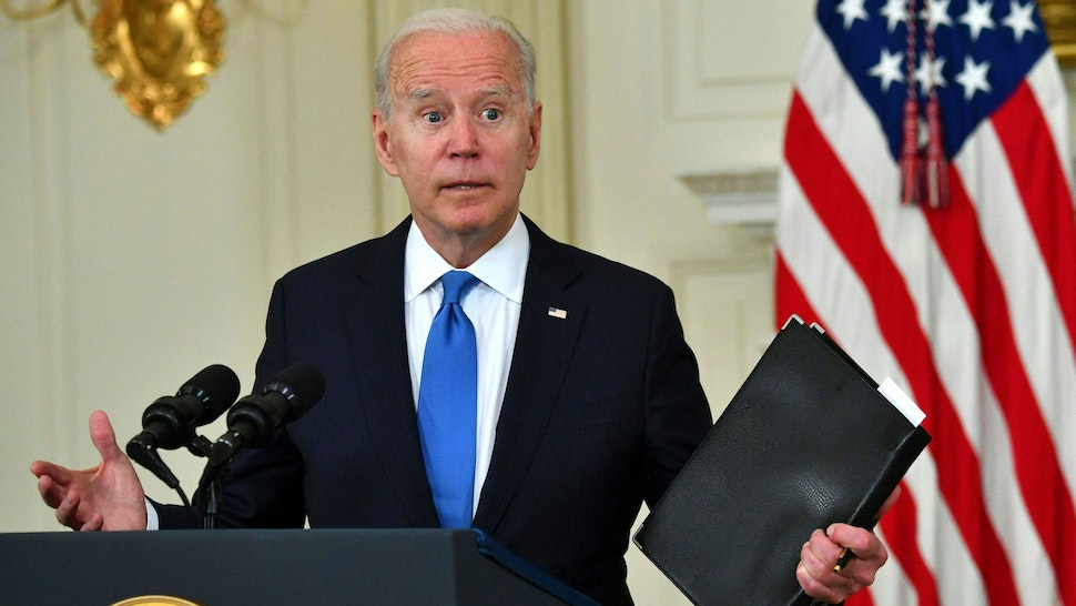 US President Joe Biden delivers remarks on the American Rescue Plan in the State Dining Room of the White House on May 5, 2021.