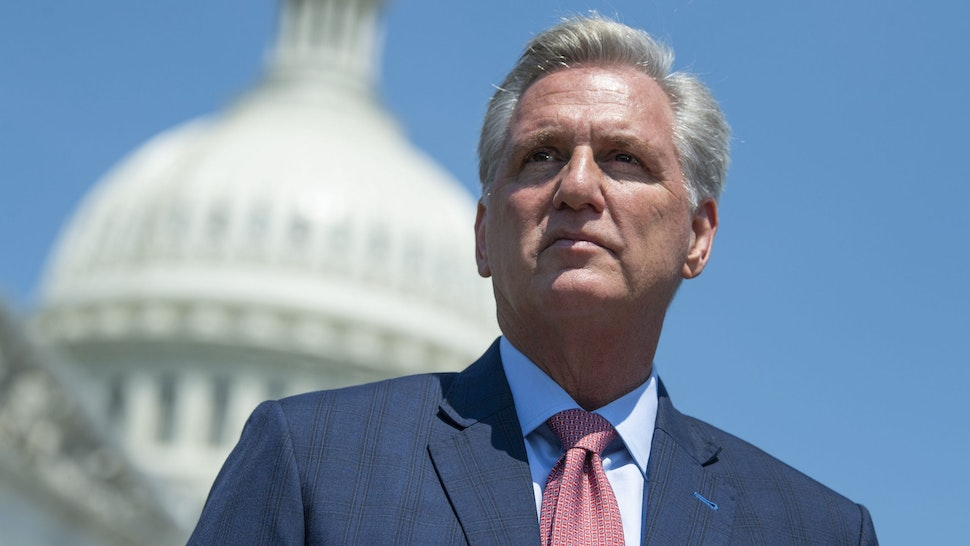 UNITED STATES - MAY 20 (FILE): House Minority Leader Kevin McCarthy, R-Calif., attends a news conference to highlight Cuban Independence Day outside the Capitol on Thursday, May 20, 2021.