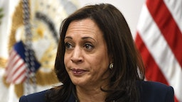 US Vice President Kamala Harris participates in a roundtable discussion with advocates from faith-based NGOs and shelter and legal service providers, during a visit to the Paso del Norte Port of Entry on June 25, 2021 in El Paso, Texas. - Vice President Kamala Harris is traveling in El Paso, Texas on Friday, where she will tour a Customs and Border Protection processing facility, meeting with advocates and NGOs.