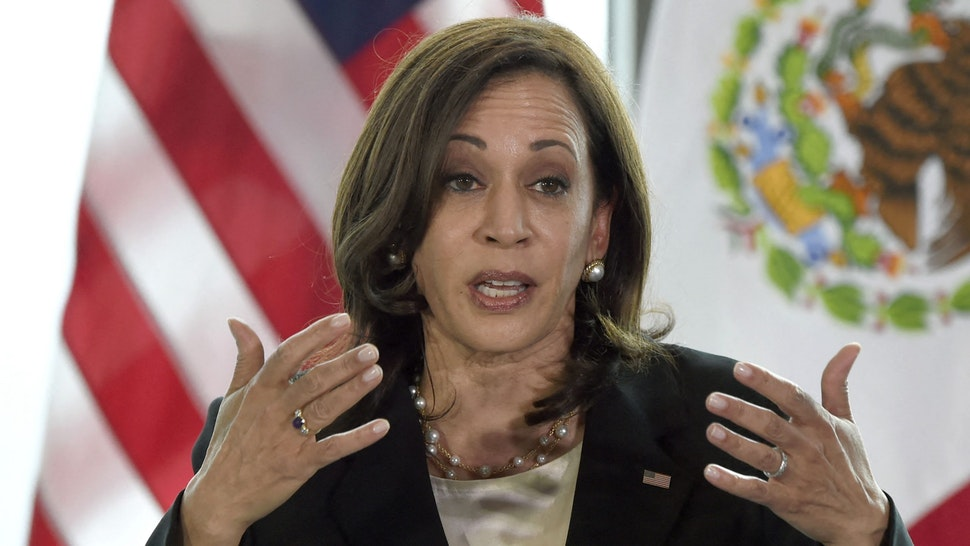 """US Vice President Kamala Harris speaks during a press conference in Mexico City, on June 8, 2021. - US Vice President Kamala Harris held talks with Mexican President Andres Manuel Lopez Obrador Tuesday during a visit to the region aimed at tackling the """"root causes"""" of a surge in migrant arrivals."""
