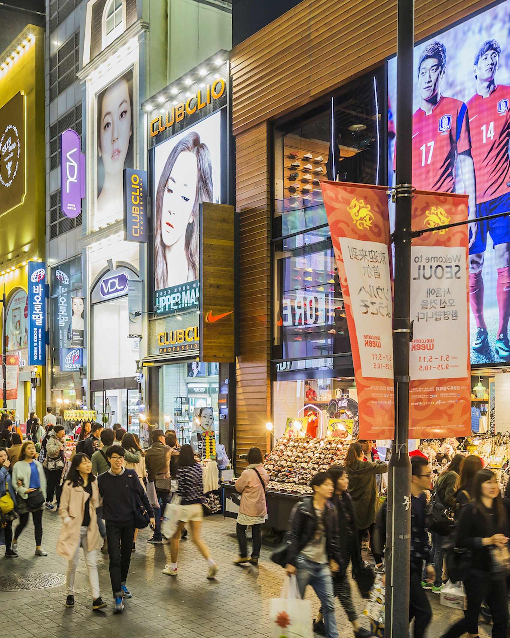 The famous shopping streets of Myeong-dong