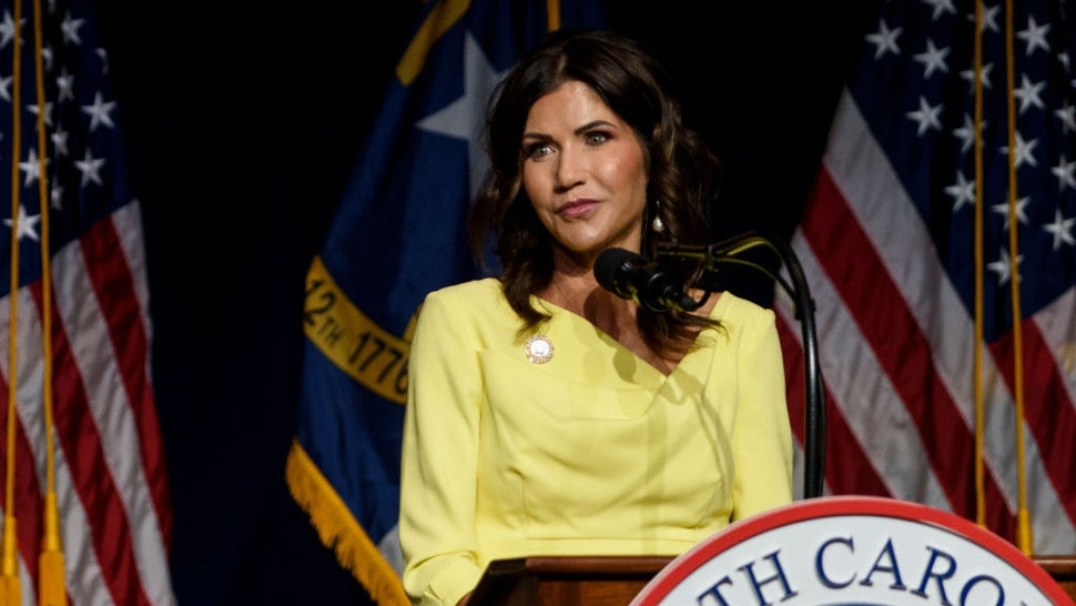 GREENVILLE, NC - JUNE 05: South Dakota Gov. Kristi Noem speaks to attendees at the NCGOP convention on June 5, 2021 in Greenville, North Carolina. (Photo by Melissa Sue Gerrits/Getty Images)