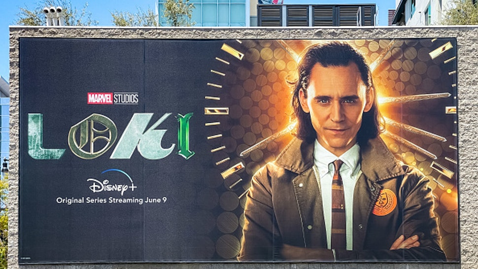 HOLLYWOOD, CA - JUNE 04: General view of a billboard near Hollywood & Vine promoting the upcoming season of the Disney+ Marvel Studios flagship show 'Loki' on June 04, 2021 in Hollywood, California.