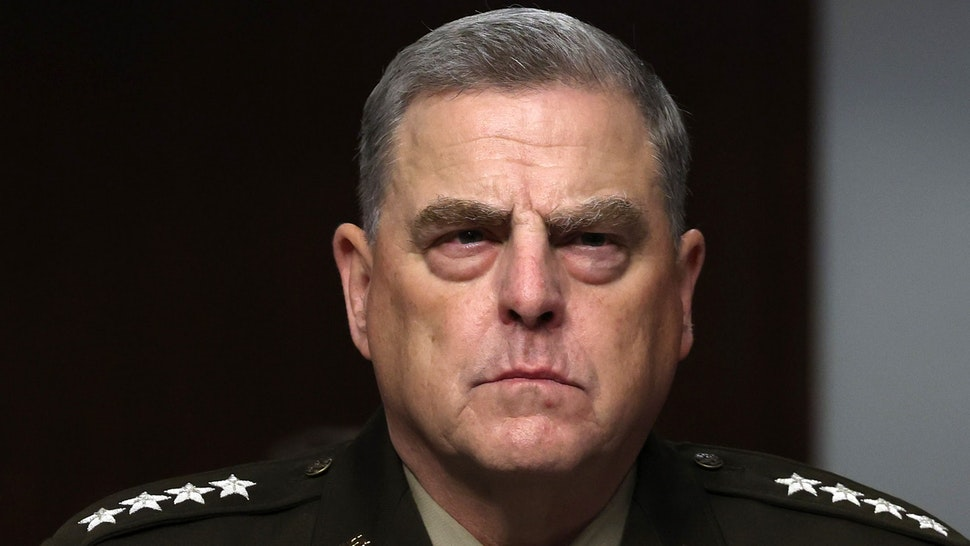 WASHINGTON, DC - JUNE 10: Chairman of the Joint Chiefs of Staff Gen. Mark Milley listens during a Senate Armed Services Committee hearing on Capitol Hill on June 10, 2021 in Washington, DC. The hearing was held to discuss the Defense Department's Fiscal Year 2022 budget proposal.
