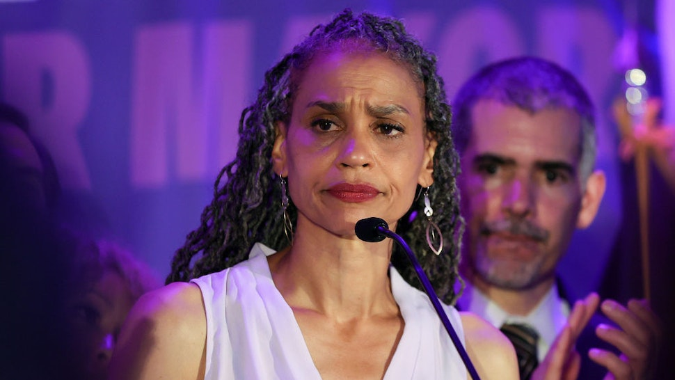NEW YORK, NEW YORK - JUNE 22: Democratic New York City mayoral candidate Maya Wiley addresses supporters at an evening gathering on June 22, 2021 in the Brooklyn borough of New York City. Ranked choice voting is being used for the first time, a system that lets voters prioritize more than one candidate on their ballot. The winner of the Democratic primary will face off against the Republican candidate in the fall. (Photo by Dia Dipasupil/Getty Images)