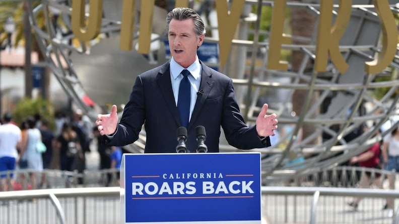 UNIVERSAL CITY, CALIFORNIA - JUNE 15: California Governor Gavin Newsom attends California Governor Gavin Newsom's press conference for the official reopening of the state of California at Universal Studios Hollywood on June 15, 2021 in Universal City, California.