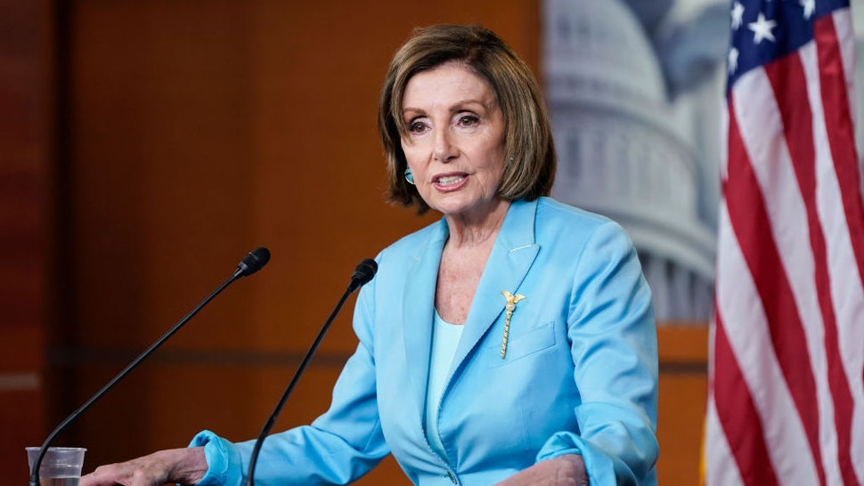 WASHINGTON, DC - JUNE 17: Speaker of the House Nancy Pelosi (D-CA) speaks during her weekly media availability on Capitol Hill on June 17, 2021 in Washington, DC. Pelosi expressed her support for the Supreme Court decision upholding the Affordable Care Act and called on Congress to pass H.R. 1, a bill to expand and protect voting rights.