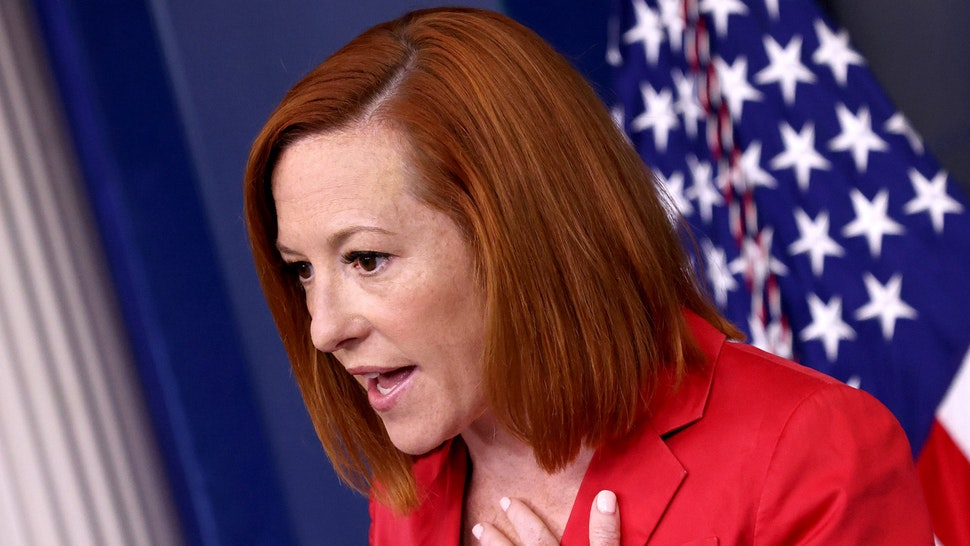 WASHINGTON, DC - JUNE 28: White House press secretary Jen Psaki answers questions during her daily briefing on June 28, 2021 in Washington, DC. Psaki answered a range of questions related to pending infrastructure legislation and other topics.