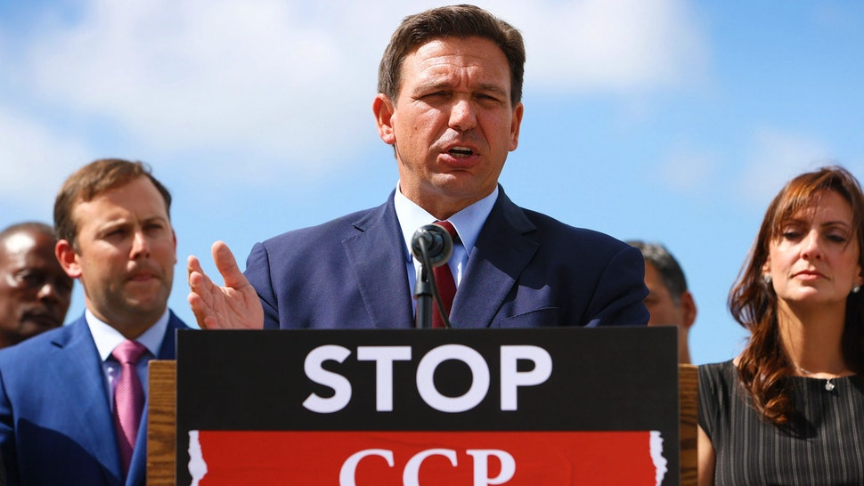 MIAMI, FLORIDA - JUNE 07: Florida Gov. Ron DeSantis speaks during a press conference held at the Florida National Guard Robert A. Ballard Armory on June 07, 2021 in Miami, Florida. The governor had the press conference to speak about two bills he signed to combat foreign influence and corporate espionage in Florida from governments like China.