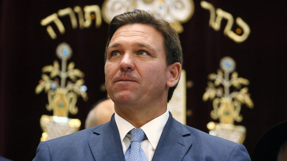 SURFSIDE, FLORIDA - JUNE 14: Florida Gov. Ron DeSantis attends a press conference at the Shul of Bal Harbour on June 14, 2021 in Surfside, Florida. The governor spoke about the two bills he signed HB 529 and HB 805. HB 805 ensures that volunteer ambulance services, including Hatzalah, can operate. HB 529 requires Florida schools to hold a daily moment of silence.