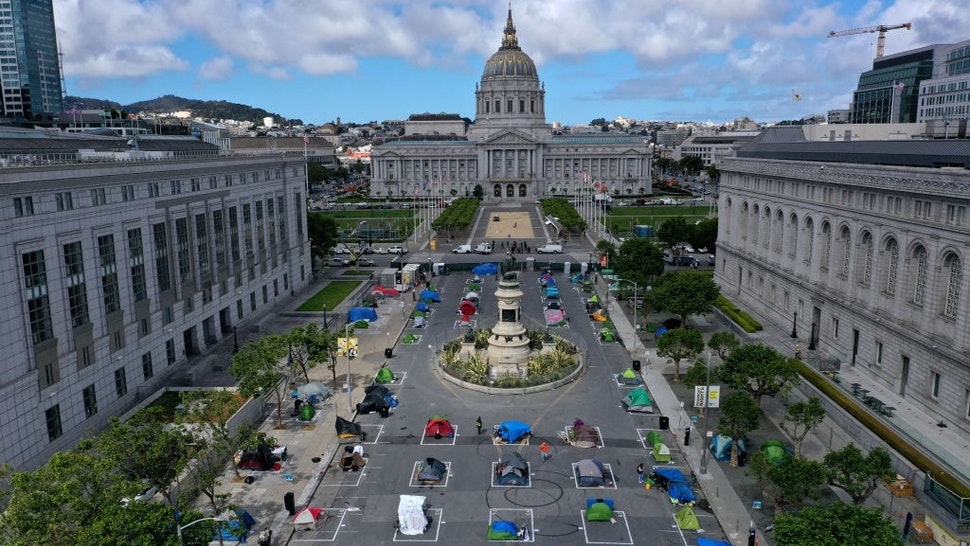 SAN FRANCISCO, CALIFORNIA - MAY 18: An aerial view of San Francisco's first temporary sanctioned tent encampment for the homeless on May 18, 2020 in San Francisco, California.