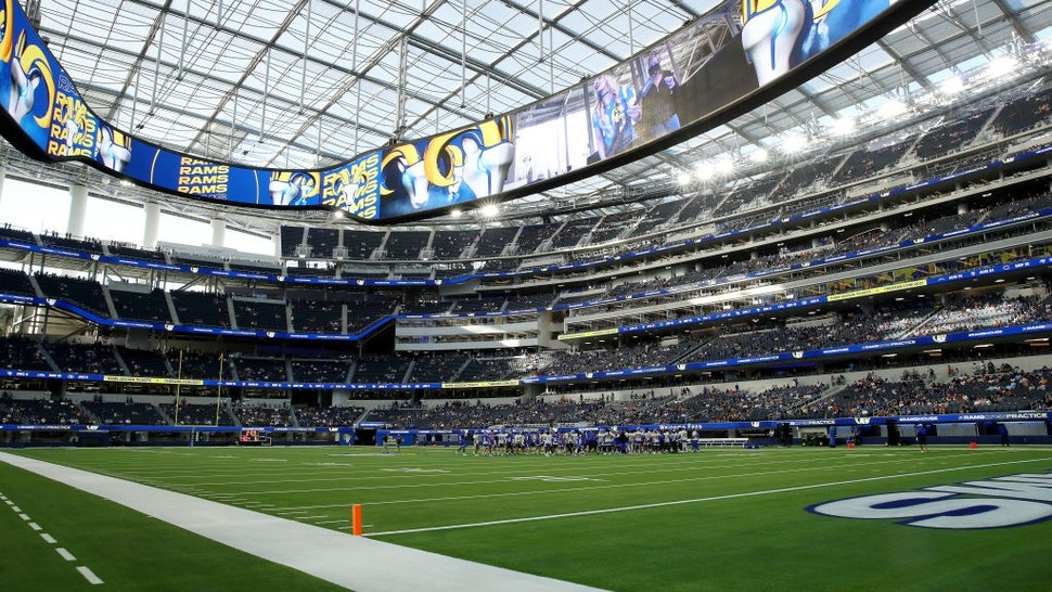 INGLEWOOD, CALIFORNIA - JUNE 10: A general view of the field during the Los Angeles Rams open practice at SoFi Stadium on June 10, 2021 in Inglewood, California.