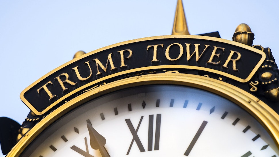 A clock outside of Trump Tower in New York, U.S., on Sunday, Jan. 24, 2021. Donald Trump's name is emblazoned on buildings across Manhattan, usually spelled out in large gold lettering. Now, some unit owners fear that having his name on their building could harm the value of their investment.