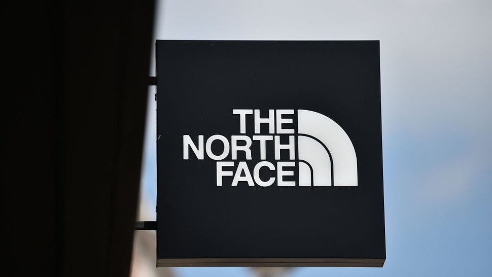 LEEDS, ENGLAND - MAY 27: The North Face logo is displayed outside one of its stores on May 27, 2021 in Leeds, England. (Photo by Nathan Stirk/Getty Images)