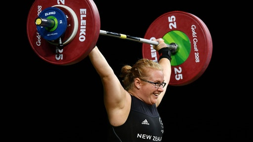 GOLD COAST, AUSTRALIA - APRIL 09: Tracey Lambrechs of New Zealand competes in the Women's 90kg Final during the Weightlifting on day five of the Gold Coast 2018 Commonwealth Games at Carrara Sports and Leisure Centre on April 9, 2018 on the Gold Coast, Australia. (Photo by Dan Mullan/Getty Images)