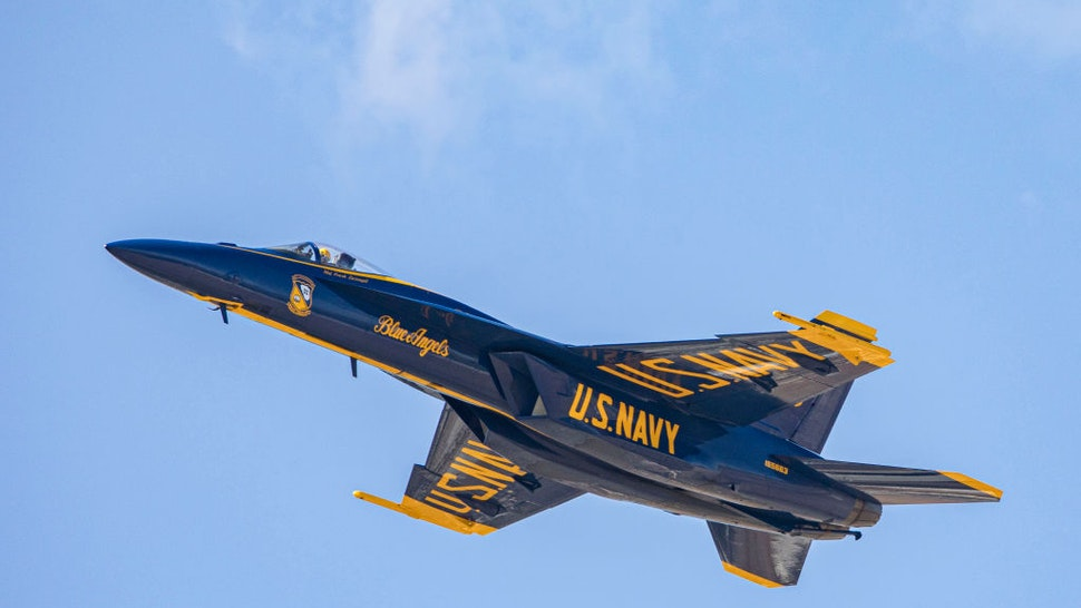 EL CENTRO, CALIFORNIA - MARCH 13: U.S. Navy Blue Angels perform at Naval Air Facility El Centro on March 13, 2021 in El Centro, California.