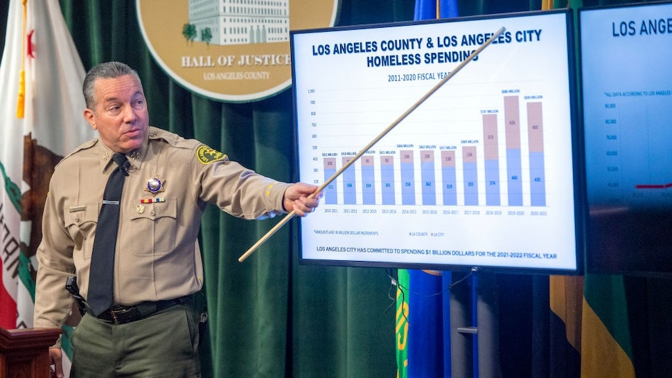 Los Angeles, CA - June 23: Los Angeles County Sheriff Alex Villanueva talks about the role the Sheriffs Department plays in the Homeless Crisis in Los Angeles County and how the Sheriffs Homeless Outreach Services Teams are patrolling the Venice Beach boardwalk.
