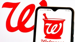 UKRAINE - 2021/05/23: In this photo illustration a Walgreen Company logo seen displayed on a smartphone.
