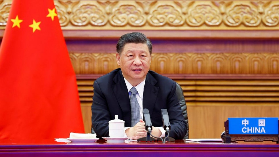 """BEIJING, April 22, 2021: At the invitation of U.S. President Joe Biden, Chinese President Xi Jinping attends the Leaders Summit on Climate via video link and delivers an important speech titled """"For Man and Nature: Building a Community of Life Together"""" in Beijing, capital of China, April 22, 2021."""