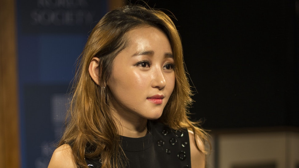"""North Korean defector Yeonmi Park at The Korean Society in New York City discussing her memoir """"In Order to Live.:A North Korean Girl's Journey to Freedom""""on 10/1/15. Twenty-two year old Park escaped from North Korea though China when she was 13. She is now a human rights activist."""