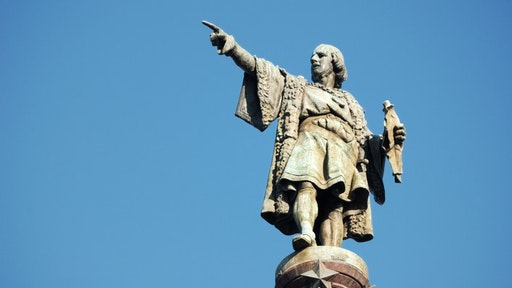 Christopher Columbus monument close to Las Ramblas in Barcelona, Spain.