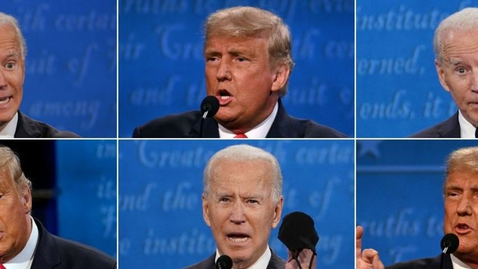 TOPSHOT - (COMBO) This combination of pictures created on October 22, 2020 shows US President Donald Trump and Democratic Presidential candidate and former US Vice President Joe Biden during the final presidential debate at Belmont University in Nashville, Tennessee, on October 22, 2020. (Photos by various sources / AFP) (Photo by