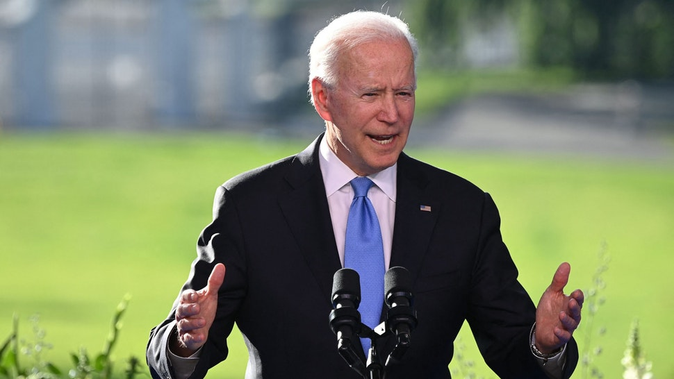 US President Joe Biden holds a press conference after the US-Russia summit in Geneva on June 16, 2021.