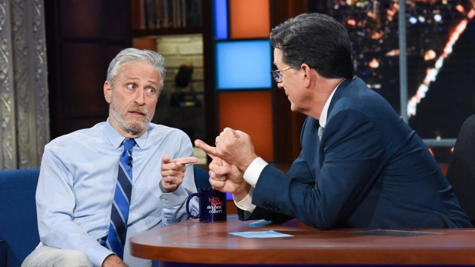 NEW YORK - JUNE 14: The Late Show with Stephen Colbert and guest Jon Stewart during Mondays June 14, 2021 show. (Photo by